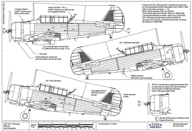 Plate 4a CAC Wirraway CA-1 side elevations